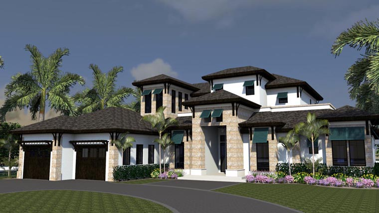 Florida House Plan 71514 with 4 Beds, 5 Baths, 3 Car Garage Elevation