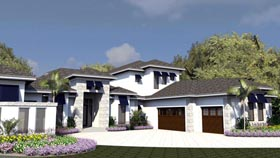 Florida House Plan 71521 with 4 Beds, 5 Baths, 3 Car Garage Elevation