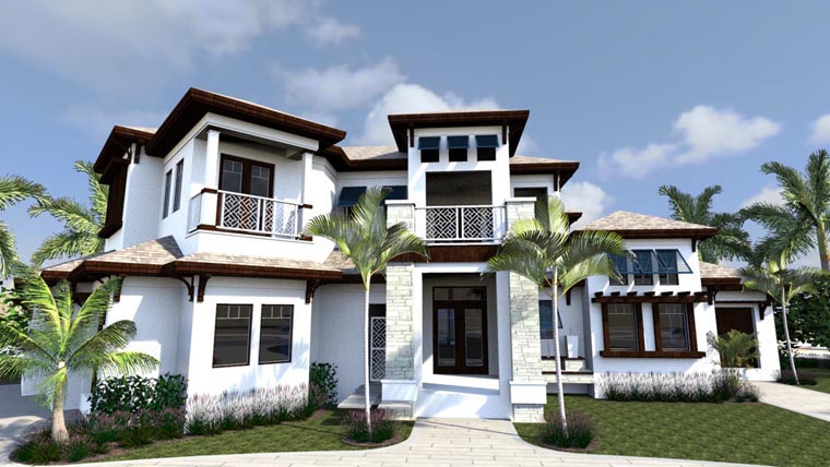 House Plan 71523 | Florida Style Plan with 6001 Sq Ft, 5 Bedrooms, 8 Bathrooms, 3 Car Garage Elevation