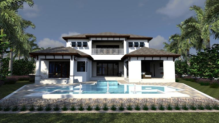House Plan 71523 | Florida Style Plan with 6001 Sq Ft, 5 Bedrooms, 8 Bathrooms, 3 Car Garage Rear Elevation