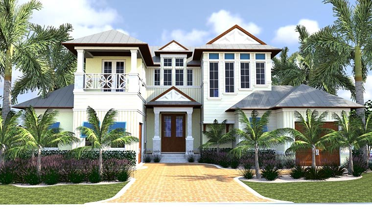 Florida, Mediterranean House Plan 71524 with 4 Beds, 6 Baths, 2 Car Garage Elevation