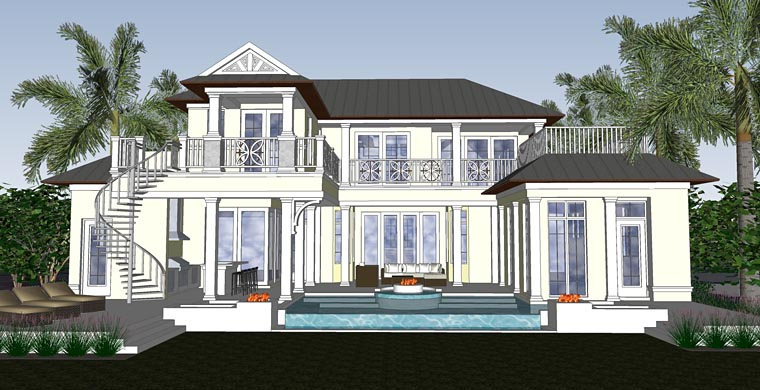 Florida Mediterranean Rear Elevation of Plan 71524