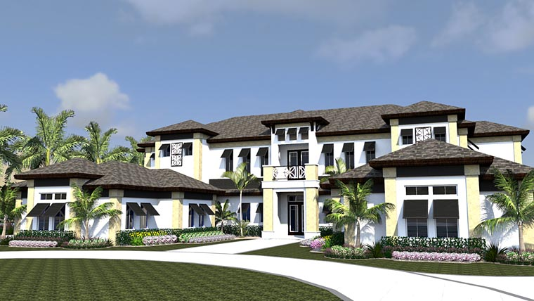 House Plan 71525 | Florida Mediterranean Style Plan with 7117 Sq Ft, 4 Bedrooms, 5 Bathrooms, 4 Car Garage Elevation