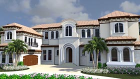 House Plan 71528 | Florida Mediterranean Style Plan with 8931 Sq Ft, 6 Bedrooms, 9 Bathrooms, 4 Car Garage Elevation
