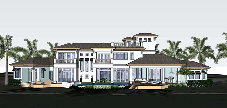 Florida Mediterranean House Plan 71529 Rear Elevation
