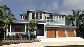 House Plan 71538 | Florida Mediterranean Style Plan with 5572 Sq Ft, 4 Bedrooms, 7 Bathrooms, 3 Car Garage Elevation