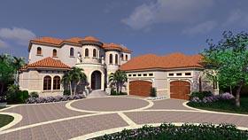House Plan 71540 | Florida Mediterranean Style Plan with 5126 Sq Ft, 4 Bedrooms, 7 Bathrooms, 3 Car Garage Elevation