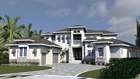 House Plan 71543 | Coastal Florida Mediterranean Style Plan with 6005 Sq Ft, 4 Bedrooms, 6 Bathrooms, 3 Car Garage Elevation