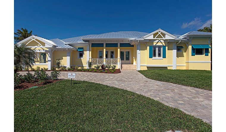 Coastal, Contemporary, Florida House Plan 71544 with 3 Beds, 5 Baths, 2 Car Garage Elevation