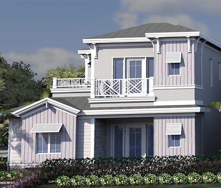 Coastal, Contemporary, Florida House Plan 71546 with 4 Beds, 5 Baths, 2 Car Garage Elevation