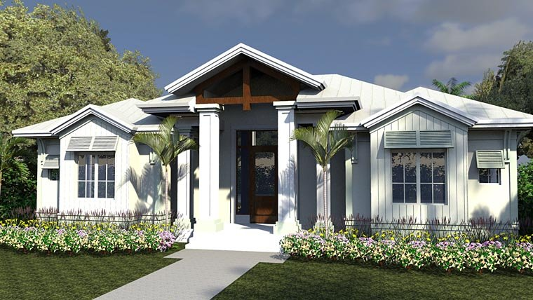 Coastal , Colonial , Florida House Plan 71550 with 5 Beds, 6 Baths, 3 Car Garage Elevation
