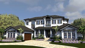 Coastal , Contemporary House Plan 71551 with 4 Beds, 6 Baths, 3 Car Garage Elevation