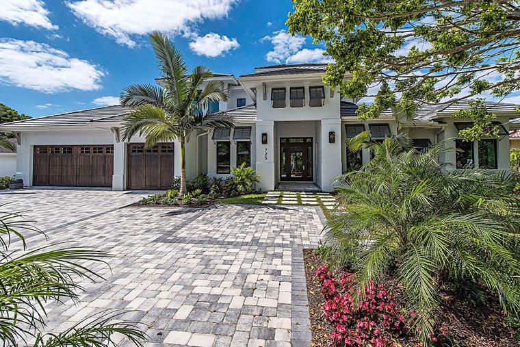 Coastal, Florida, Mediterranean House Plan 71552 with 4 Beds, 5 Baths, 3 Car Garage Elevation