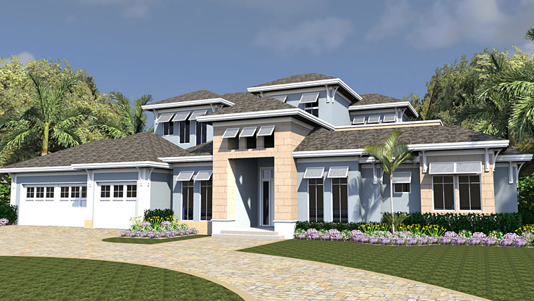Coastal, Florida, Mediterranean House Plan 71552 with 4 Beds, 5 Baths, 3 Car Garage Picture 1