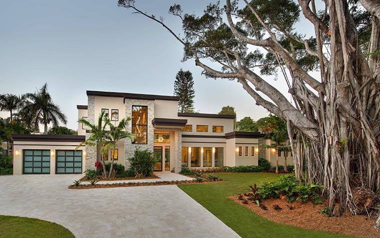 House Plan 71554 | Contemporary Modern Style Plan with 6157 Sq Ft, 6 Bedrooms, 7 Bathrooms, 3 Car Garage Elevation
