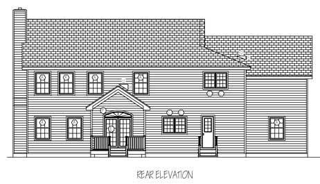 Cottage, Farmhouse House Plan 71900 with 4 Beds, 3 Baths, 3 Car Garage Rear Elevation
