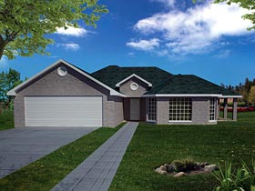 House Plan 71912 | Ranch Southwest Style Plan with 1732 Sq Ft, 3 Bedrooms, 2 Bathrooms, 2 Car Garage Elevation