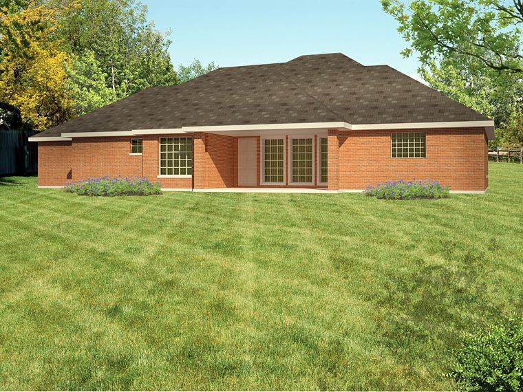 Ranch , Southwest House Plan 71913 with 3 Beds, 2 Baths, 2 Car Garage Rear Elevation