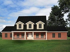 House Plan 71925 | Cape Cod Country Traditional Style Plan with 2519 Sq Ft, 4 Bedrooms, 3 Bathrooms, 2 Car Garage Elevation