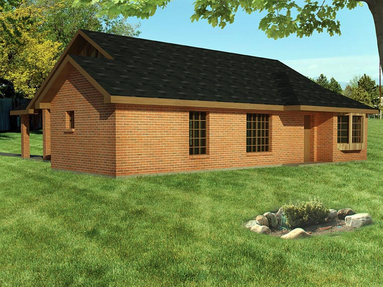 Ranch House Plan 71929 with 3 Beds, 2 Baths, 1 Car Garage Rear Elevation