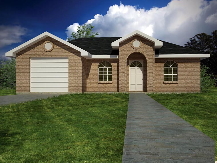 European, Ranch House Plan 71930 with 3 Beds, 2 Baths, 1 Car Garage Elevation