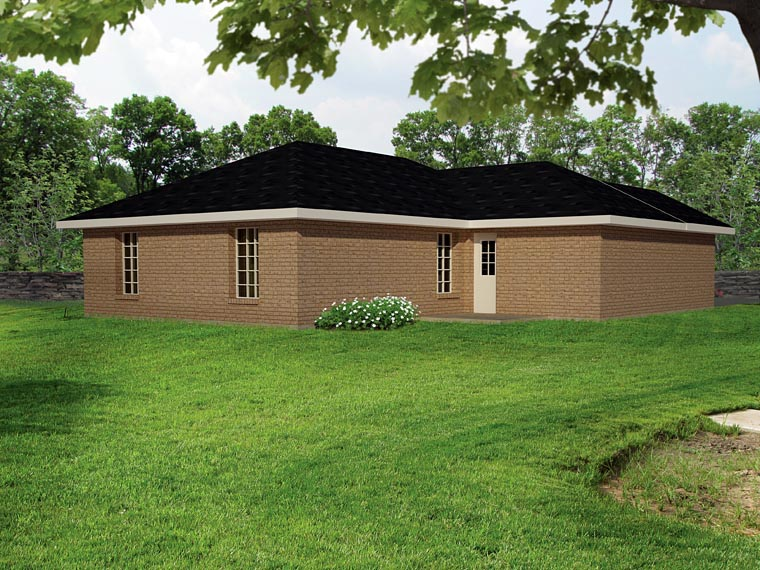 European, Ranch House Plan 71930 with 3 Beds, 2 Baths, 1 Car Garage Rear Elevation