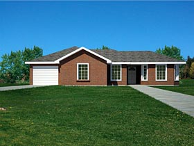 House Plan 71936   Ranch Southwest Traditional Style Plan with 1103 Sq Ft, 3 Bedrooms, 2 Bathrooms, 1 Car Garage Elevation