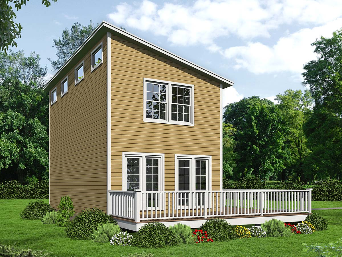 Colonial, Saltbox House Plan 71946 with 2 Beds, 2 Baths Rear Elevation