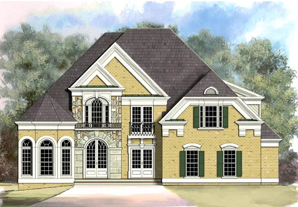 European , Greek Revival House Plan 72002 with 5 Beds, 3 Baths, 2 Car Garage Elevation