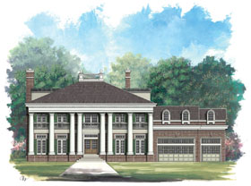 Colonial , Greek Revival House Plan 72004 with 4 Beds, 4 Baths, 3 Car Garage Elevation