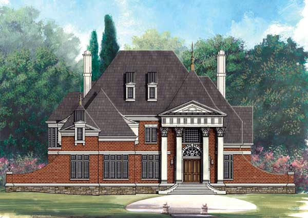 European Greek Revival Elevation of Plan 72009