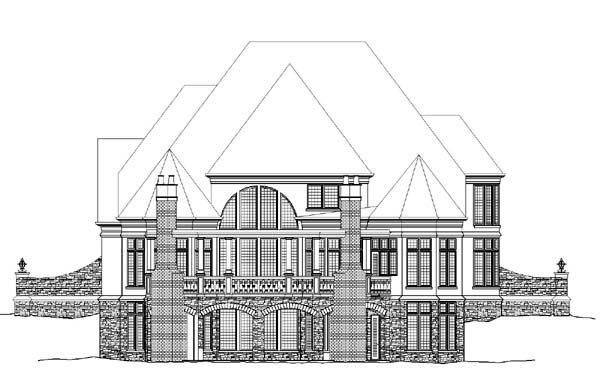 European Greek Revival Rear Elevation of Plan 72009