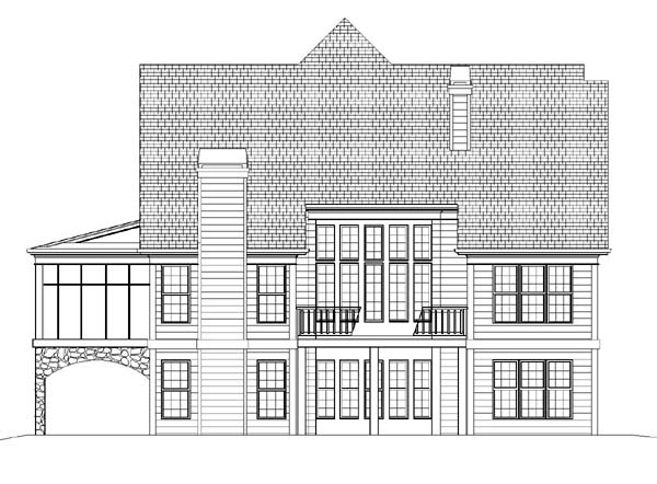 Bungalow , Tudor , Victorian , Rear Elevation of Plan 72011