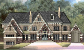 European Greek Revival Tudor Victorian Elevation of Plan 72014