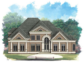 House Plan 72015 | European Greek Revival Style Plan with 4550 Sq Ft, 4 Bedrooms, 5 Bathrooms, 3 Car Garage Elevation