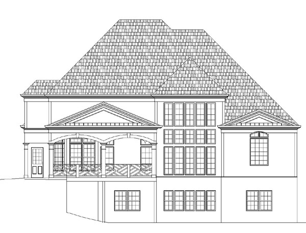 European Greek Revival Rear Elevation of Plan 72017