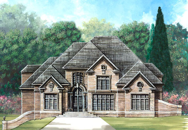 Greek Revival , Tudor House Plan 72027 with 4 Beds, 6 Baths, 3 Car Garage Elevation