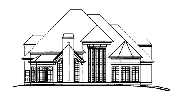 Greek Revival , Tudor House Plan 72027 with 4 Beds, 6 Baths, 3 Car Garage Rear Elevation