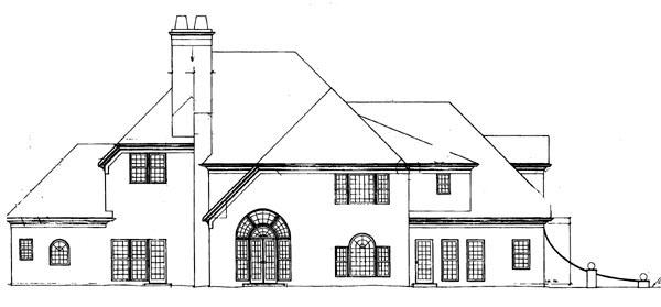 European Greek Revival House Plan 72028 Rear Elevation