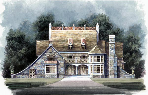 Greek Revival Tudor House Plan 72032 Elevation