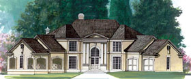 House Plan 72039 | Greek, Revival, Traditional Style House Plan with 3338 Sq Ft, 4 Bed, 4 Bath, 2 Car Garage Elevation