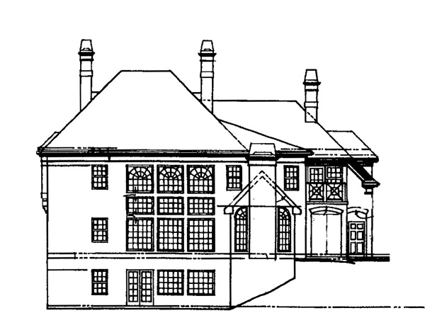 Colonial Greek Revival Rear Elevation of Plan 72042