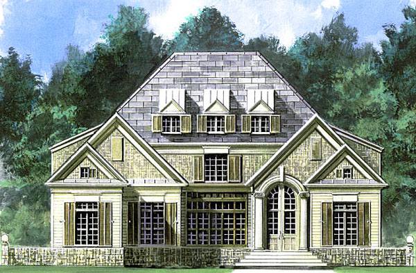 Colonial, European, Greek Revival House Plan 72043 with 4 Beds, 4 Baths, 3 Car Garage Elevation