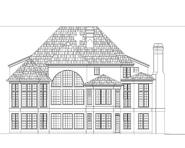 Colonial, European, Greek Revival House Plan 72043 with 4 Beds, 4 Baths, 3 Car Garage Rear Elevation