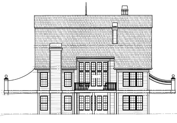 European Tudor House Plan 72045 Rear Elevation