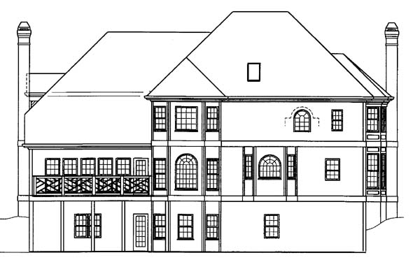 House Plan 72046 | European Greek Revival Style Plan with 3266 Sq Ft, 4 Bedrooms, 4 Bathrooms, 2 Car Garage Rear Elevation