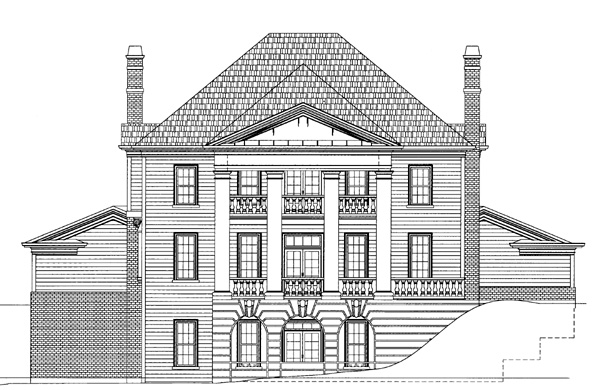 Colonial Greek Revival House Plan 72049 Rear Elevation