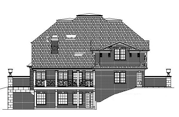 Colonial, GreekRevival, House Plan 72050 with 5 Beds, 4 Baths, 3 Car Garage Rear Elevation