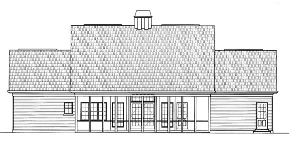 Colonial European House Plan 72052 Rear Elevation