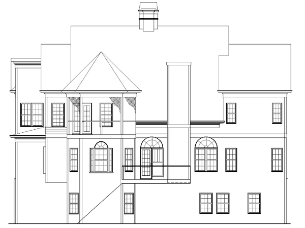 European Greek Revival House Plan 72056 Rear Elevation